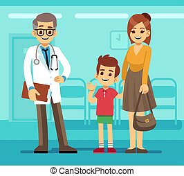 fajta, fogalom, beteg, orvos, vektor, gyermekorvos, gyermekgyógyászati, anya, mosolygós, karikatúra, child., törődik