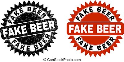 FAKE BEER Black Rosette Stamp with Grunge Texture