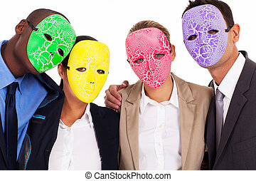 fake business teamwork concept group of business people with...