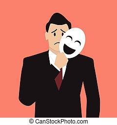 Fake businessman holding a smile mask. vector illustration