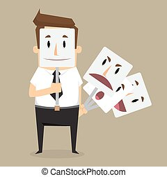 Fake businessman wearing mask smile rage cavaliers. Business concept. vector illustration