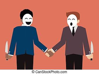 Fake businessmen hiding the knife for betrayal of business partner