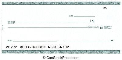 (fake, cheque, account), blanco