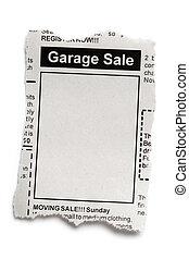 Garage Sale - Fake Classified Ad, newspaper, Garage Sale...