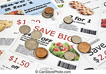 Fake Coupons with US Coins - Fake coupon background with ...