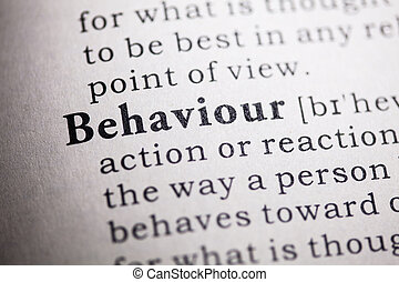 Fake Dictionary, Dictionary definition of the word behaviour.