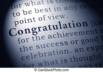 Fake Dictionary, Dictionary definition of the word congratulation.
