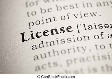Fake Dictionary, Dictionary definition of the word License.