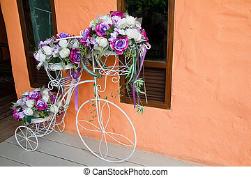 Fake flower on bicycle