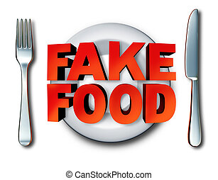 Fake Food - Fake food and counterfeit meal as a plate with...