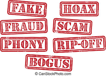 Fake Fraud Scam Stamps - Rubber stamp imprints featuring the...