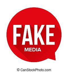 Fake Media Warning sign speech bubble