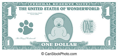 Children game money - one dollar bill - front