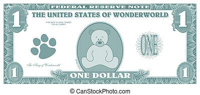 Fake money - Children game money - one dollar bill - front