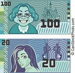 Fake Money Grandma 100 and Girl 20