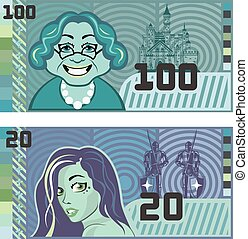 Fake Money Grandma 100 and Girl 20