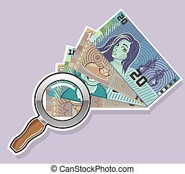 Fake Money Under Magnifying glass
