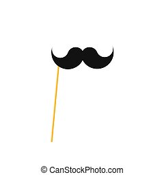 Fake mustache on a stick. Paper moustache on a straw. - Fake...