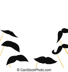 Fake mustaches on a stick on a white background. Flat lay.