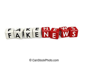 Fake news cube crossword on white background