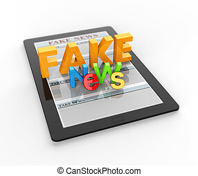 Fake news in online internet media news on touch tablet PC 3D render
