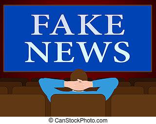 Fake News Message On Big Screen 3d Illustration