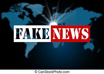 Fake news on world map background