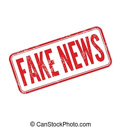 Fake News, Red rubber stamp isolated on white background.