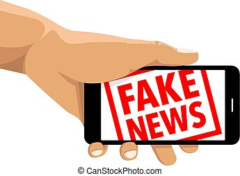 Fake news rubber stamp cell phone
