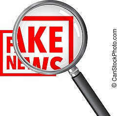 Fake news rubber stamp on a cell phone