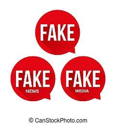 Fake news speech bubble set