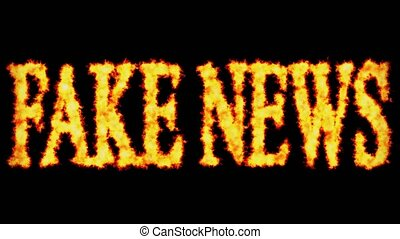 Fake news text word concept burning on black background