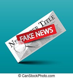 Fake News Vector Icon with Newspapers and Magnifying Glass. Hoax Symbol.