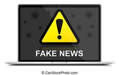 Fake news warning sign on laptop screen, coronavirus covid-19 concpet vector illustration