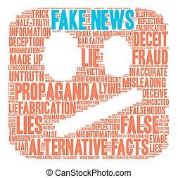 Fake News Word Cloud - Fake News word cloud on a white...