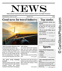 illustration of a daily newspaper template tabloid layout posting