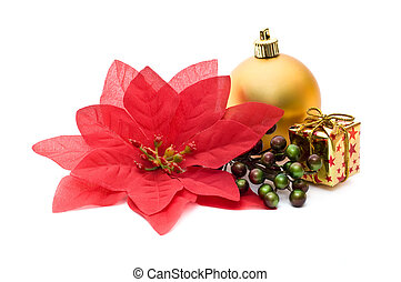 Fake poinsettia with christmas ornaments