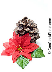 Fake poinsettia with old pine cone