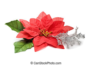Fake poinsettia with silver branch
