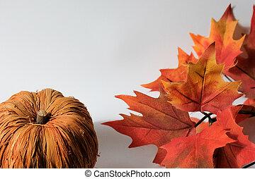 Fake pumkin and Plastic leaves