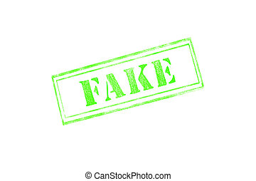 'FAKE' rubber stamp over a white background
