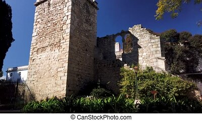 Fake Ruins in the Evora Public Park in Portugal built in the...