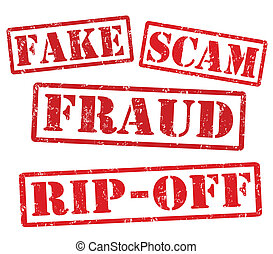 Fake, Scam, Fraud, Ripoff, grunge rubber stamps on white, vector illustration