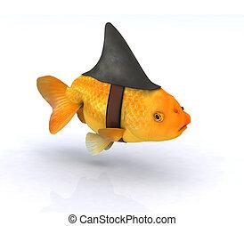 fake shark fin on little redfish, 3d illustration
