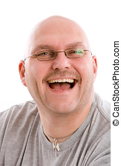 Fake smile - Mature bald man with a very fake laugh