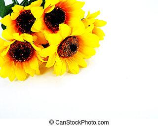 fake sunflower on white background