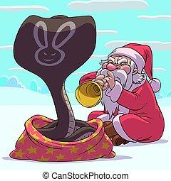 Fakir Santa Claus - Santa Claus as a fakir is playing a...