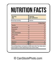fakty, żywienie, wektor, szablon, etykieta