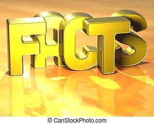 fakty, słowo, tło, żółty, 3d