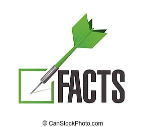 fakty, strzałka, czek, ilustracja, marka